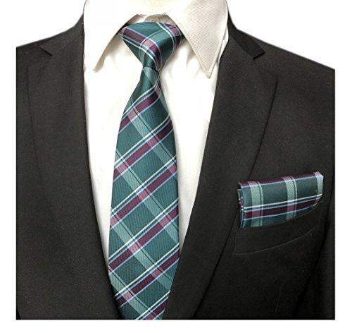 (Men's Hunter Green Purple Ties Preppy Geometric Plaids Striped Patterned Necktie)