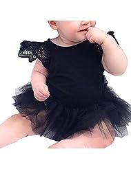 Donalworld Babay Girls Cotton Lace Children Jumpsuits Creep Clothes Black Size 100cm