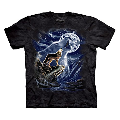 The Mountain Men's Wolf Spirit Moon T-Shirt Black S]()