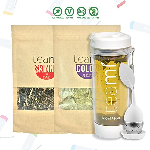 30 Day Detox Tea Kit for Teatox & Weight Loss to get a Skinny Tummy by Teami Blends | Our Best Colon Cleanse Blend to Raise Energy, Boost Metabolism, Reduce Bloating! (Big WhiteTumbler & Infuser) - Big Boost Kit