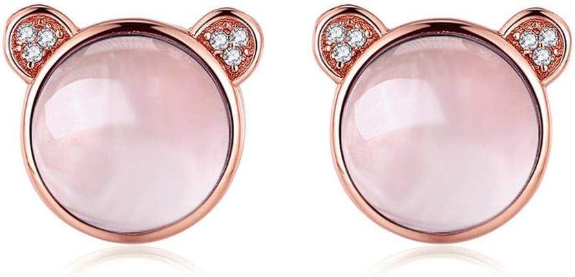 AdronQ Precioso Oso Natural de Piedras Preciosas de Cuarzo Rosa 925 aretes de Plata esterlina