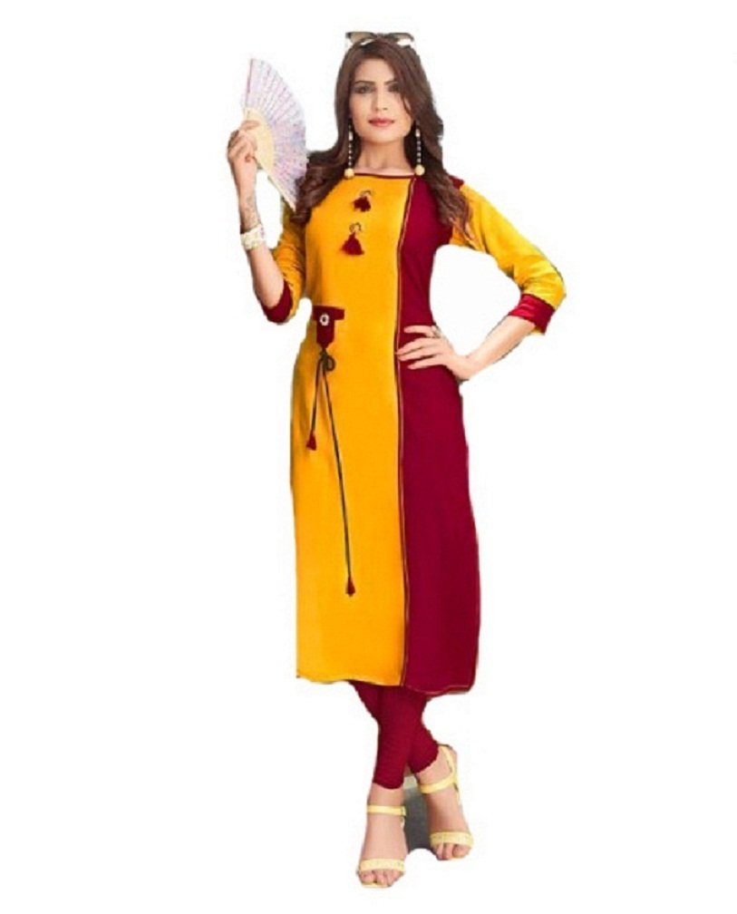 ziya Cotton Kurta Women Designer Printed Kurti Women Wear Kanika (Yellow, 44)