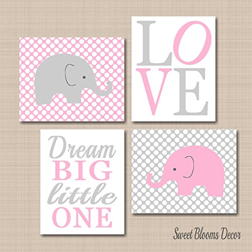Elephant Nursery Wall Art,Pink Gray Elephant Wall Art,Elephant Nursery Decor,Pink Gray Nursery,Pink Gray Girl Nursery Decor,Dream Big Elephant Wall Art-UNFRAMED Set of 4 PRINTS (NOT CANVAS) C336