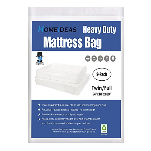 HOMEIDEAS 2-Pack 5 Mil Thick Mattress Bag for Moving and Storage, Not Clear Mattress Bag Protecting Mattress and Your Privacy, Fits Twin and Full Size