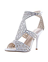 Women's Sparkle Crystal Cutouts Stiletto Ankle Strap High Heels Party Dress Sandals