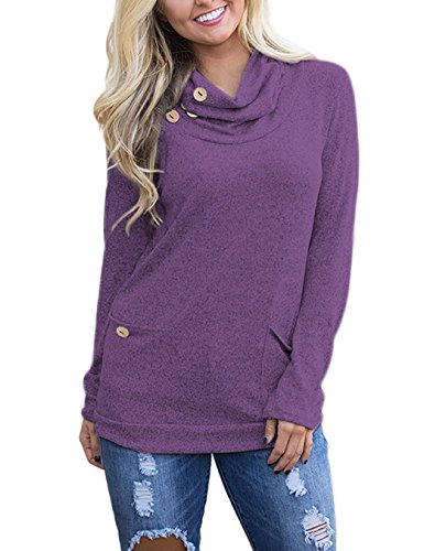 AM CLOTHES Womens Long Sleeve Button Cowl Neck Casual Tunic Tops Sweatshirt With Pockets Large Purple
