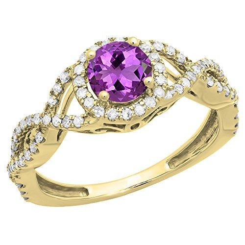 Dazzlingrock Collection 10K 6 MM Round Amethyst & Diamond Ladies Swirl Halo Engagement Ring, Yellow Gold, Size 8 ()