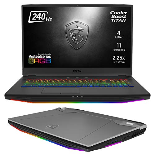 msi GT76 9SG-087 Titan DT Plata Portátil 43,9 cm (17.3″) 1920 x 1080 Pixeles 9th Gen Intel® Core i9 i9-9900K 64 GB DDR4-SDRAM 2000 GB HDD+SSD GT76 9SG-087 Titan DT, 9th Gen Intel® Core