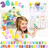 Bath Toy Organizer by Tub Cubby +36 Soft Foam ABCs Bathtub Letters & Numbers + Mesh Storage Net Keeps Kids