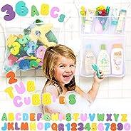 Bath Toy Organizer by Tub Cubby +36 Soft Foam ABCs Bathtub Letters & Numbers + Mesh Storage Net Keeps Kids Toys Dry + Best S