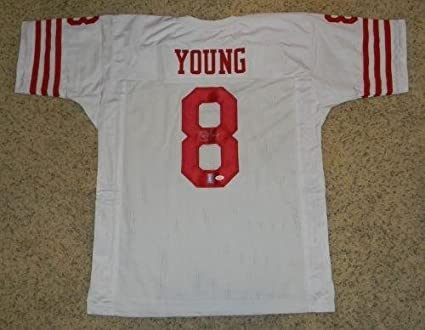1c53676c7 Image Unavailable. Image not available for. Color  Signed Steve Young Jersey  -  8 White + Holo - JSA Certified - Autographed NFL