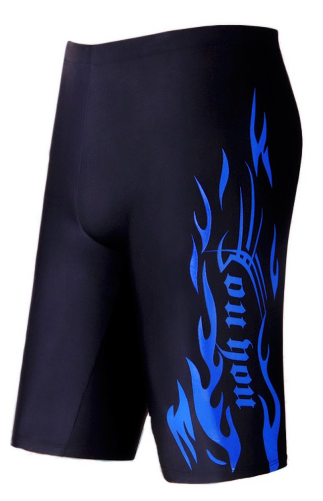 WUAMBO Swimwear Men's Swim Jammer Shorts Blue US Medium Waist 32''-35''