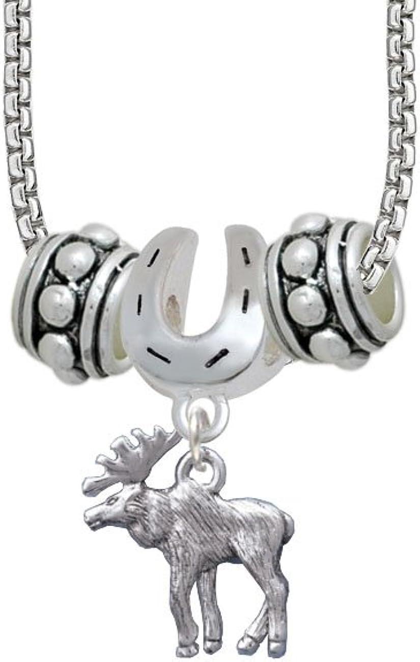 Moose Horseshoe 3 Bead Necklace