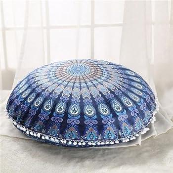 Pom Pom Pillow Cases,Boho Indian Dog Bed Kuberenterprisess 32 Large Blue Mandala Floor Pillow Cover Meditation Cushion Seating Throw Hippie Round Colorful Decorative Bohemian Ottoman Poufs