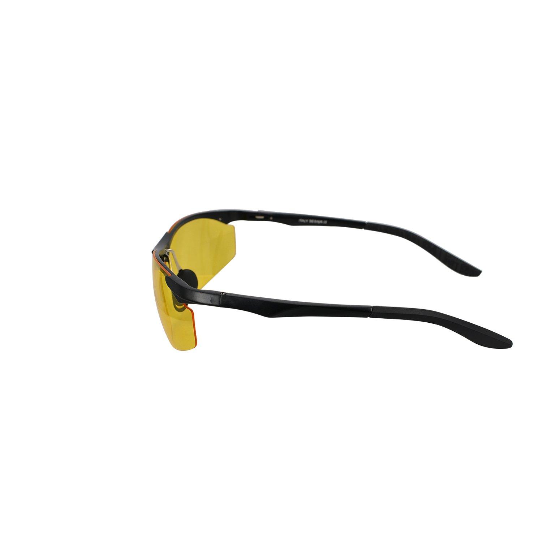 Aluminum Magnesium Alloy Yellow Lens Polarized Night Vision Sunglasses Black