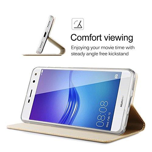 Huawei Mate 10 Funda ,GOGME Funda de cuero Funda Flip Funda de cuero Funda protectora con cubierta de teléfono celular para Huawei Mate 10 - azul Oro