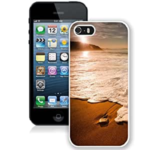 Fashionable Custom Designed iPhone 5S Phone Case With Sunset Foamy Beach Wave_White Phone Case