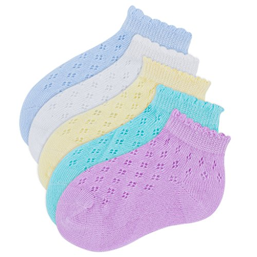 Toddler Ankle Socks Light Weight Breathable Holes Design for Baby Unisex Girls Boys Pack of 5