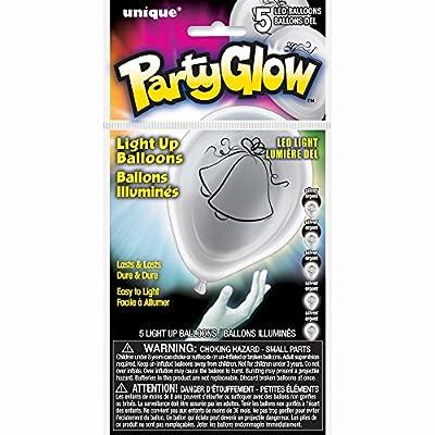 "10"" Latex Silver Wedding Bells LED Light Up Balloons, 5ct"