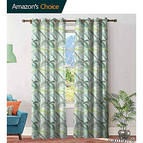 Big datastore Palm Tree Decor Curtains ByLeafy Branches in Shades of Green Tropical Summer Nature Rainforest Island Jungle Curtains to Block Out Heat W84 x L108 Multicolor