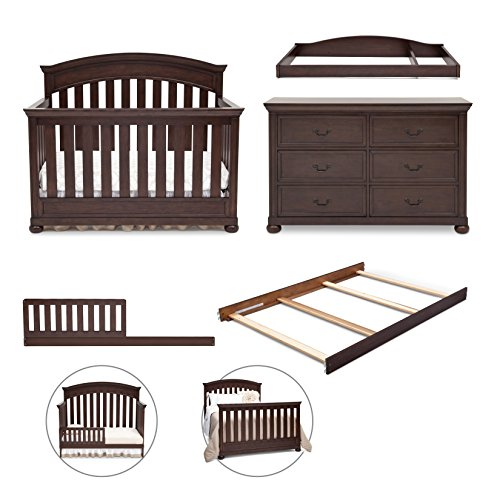 Simmons Kids 5-Piece Nursery Set; Crib, Double Dresser, Changing Top, Toddler Guardrail Kit & Full Size Bed Rails, Antique Espresso