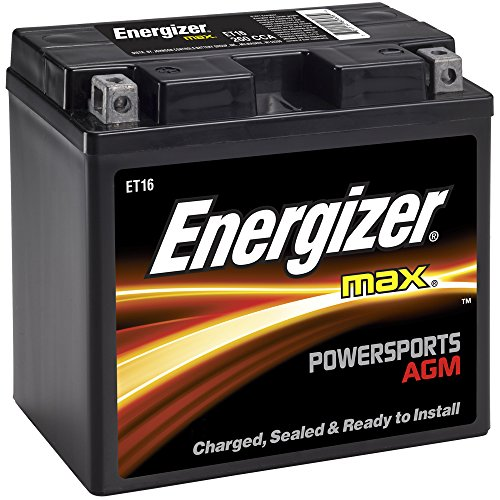 Energizer ET16 AGM Motorcycle and Personal Water Craft 12V Battery, 260 Cold Cranking Amps and 19 Ahr.  Replaces: T16 and (Battery Cranking Amps)