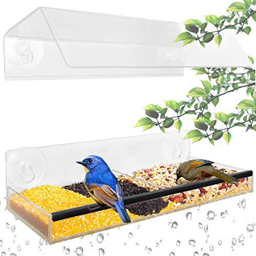 Ohuhu Window Bird Feeder with Strong Suction Cups & Seed Tray, Unique Separation Design Acrylic Feeder, Adjustable Height Wild Windowsill Feeder for All Weather