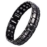 Double Magnets Titanium Magnetic Therapy Bracelet Pain Relief for Arthritis and Carpal Tunnel (Gunmetal Gray)