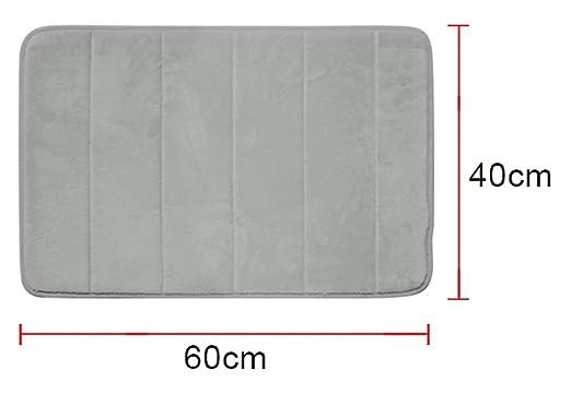 Diossad Alfombra de Ba/ño de Microfibra de Memoria de Agua Absorbente Antideslizante de Ducha Gris Espuma Soft Household Rug