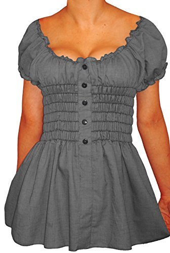 Funfash-Plus-Size-Clothing-for-Women-Black-Denim-Smock-Peasant-Top-Made-in-USA