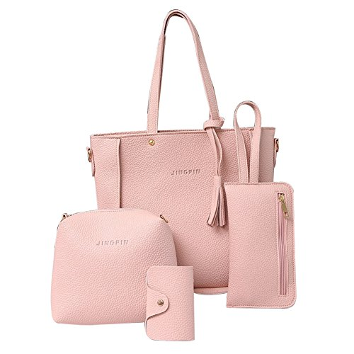 Luxury Holder Tassels Verlike Card Women Crossbody Wallet Bag Fashion Pink Set 4Pcs Handbag Cq55wpxOSF