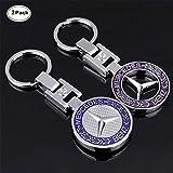 Sindapai 2PACK 3D Mercedes Benz Keychain Accessories Car Key Chain Metal Emblem Pendant Gift for Drivers
