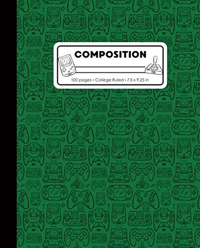 (Composition: College Ruled Writing Notebook, Green Video Game Controller Outline Pattern Marbled Blank Lined)