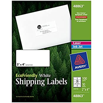 Amazon avery shipping address labels laser printers 250 avery ecofriendly mailing labels for laser and ink jet printers 2 x 4 inches white permanent pack of 100 48863 reheart Gallery