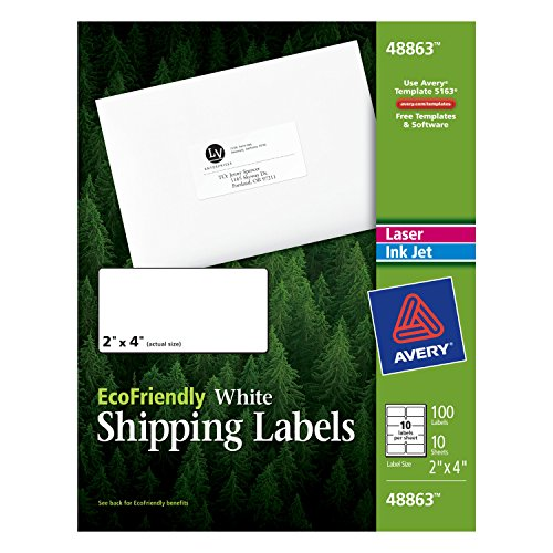 Avery EcoFriendly Mailing Labels for Laser and Ink Jet Printers, 2 x 4 Inches, White, Permanent, Pack of 100 (48863) (White Inkjet Mailing Labels)