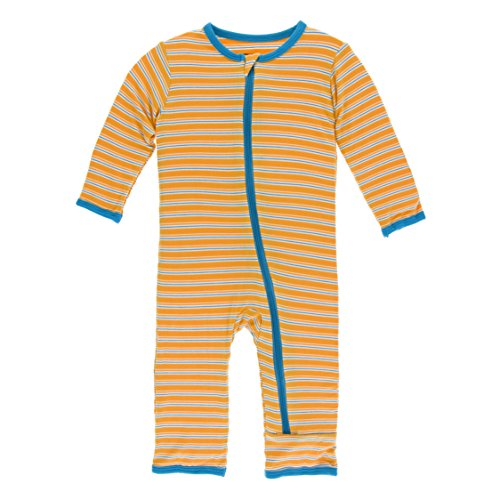 Kickee Pants Little Boys Print Coverall with Zipper - Tamarin Brazil Stripe, 3T -