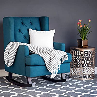 Best Choice Products Tufted Upholstered Wingback Rocking Accent Chair Rocker for Living Room, Bedroom w/Wood Frame - Blue Teal - The perfect chair to sink into after a long day, this extra soft rocking chair is made of high-quality fabric with a button-tufted backrest to provide increased levels of comfort Designed with durability in mind, this chair is crafted with sturdy wood rails that are specially made to stay still until the person sitting on it moves to make the chair rock Modern-contemporary design will add an element of elegance to your living space, while its soft cushioning creates an inviting appeal that will have guests wanting to stay a while - living-room-furniture, living-room, accent-chairs - 51zGB2t1b5L. SS400  -