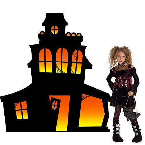 5 ft. Halloween Small Haunted Mansion Silhouette Standup Photo Booth Prop Background Backdrop Party Decoration Decor Scene Setter Cardboard Cutout