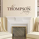 """Wall Decal Decor Family Name and Year Established Monogram Vinyl Wall Decal for Family Room Home D168;166;cor Wedding Wall Decal(12""""tall,customize color)"""