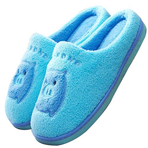 Pantofole Di Casa Di Blubi Delle Pantofole Degli Animali Chiusi Del Maiale Sveglio Blu Delle Donne