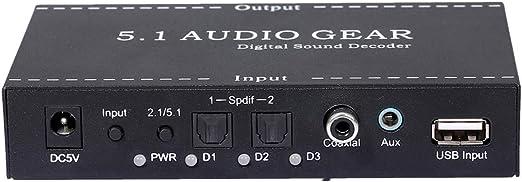 Negaor NK-A6L 5.1ドルビーデジタルAC-3 DTS USプラグ用オーディオギアデジタルサウンドデコーダーオーディオコンバーター3.5mmオーディオ出力サポート