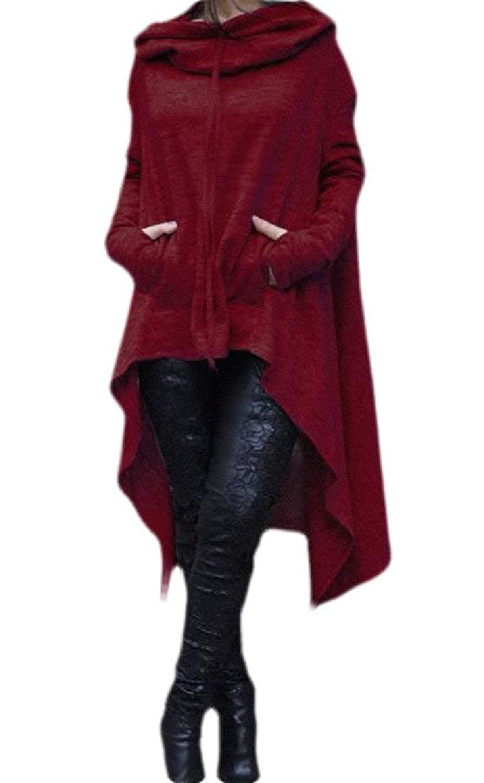 Jofemuho Women Irregular Loose Long Sleeve Solid Pullover Hoodies Top Dress