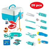 Twister.CK Childrens Doctors Kit, Medical Doctor Set Toys Kids Pretend Role Play Tool Nurse Toys with 20 Pcs Carry Case for Toddlers Boys, Blue
