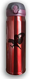 Stainless Water Bottle 500ML Designed Owl,Sports Drinking Bottle,Leak-Proof Vaccum Cup,Travel Mug,With Bounce Cover,Red