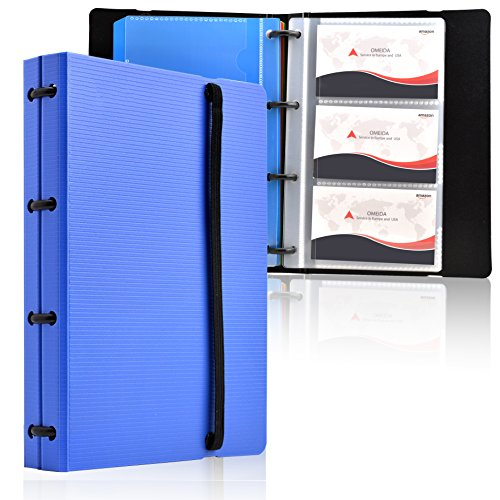 MaxGear Professional Business Card Holders Business Card Book Holder Name Card Organizer Credit Card Holder with 5 Color Index Tabs Blue