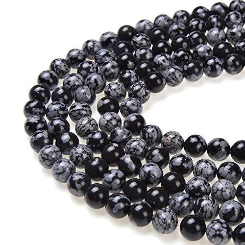 PLTbeads Gorgeous Snowflake Obsidian Natural Gemstone Loose Beads 6mm Smooth Round Approxi 15.5 inch DIY Bracelet Necklace for Jewelry Making