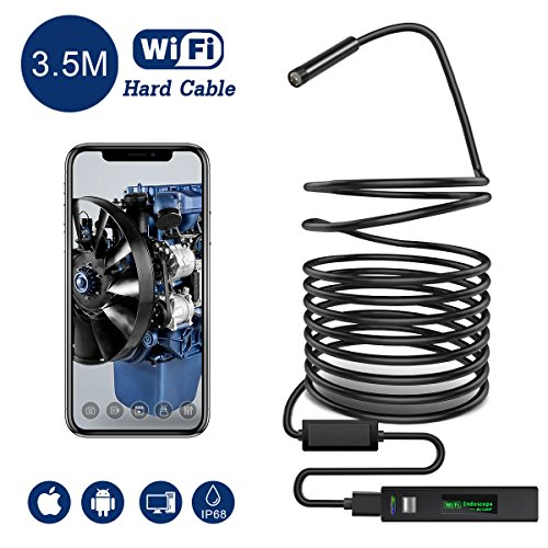 Snake Camera Wifi,Gruper Wireless Endoscope Inspection Camera 2.0 Megapixels HD Wifi Borescope...