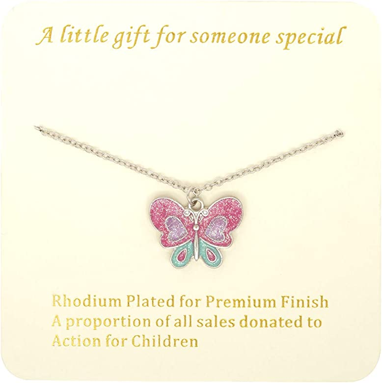 """Children/'s Girls Pink Butterfly Necklace Silver Plated 16/"""" Chain Party Gift Bag"""