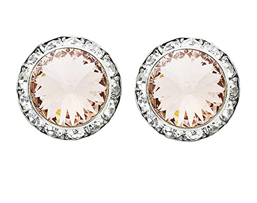 - Light Pink Vintage Rose Round Rhinestone Earrings with Clear Rhinestone Border, Post Back, 5/8 Inch Wide