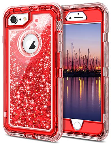 (JAKPAK iPhone 6 Case, iPhone 6S Case Shockproof Glitter Flowing Liquid Bling Sparkle Cover for Girl Woman Heavy Duty Full Body Protective Shell for iPhone 6S iPhone 6 4.7 inches Red)